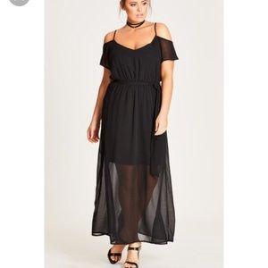 City Chic Black Off Shoulder Maxi Dress